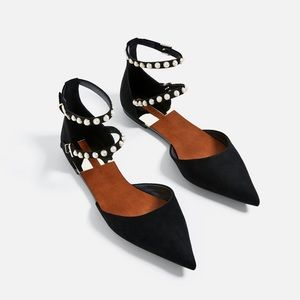 Zara Pearl Embellished Pointed Toe Flats